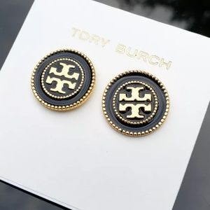 Tory Burch Black & Gold Button Disk Stud Earrings